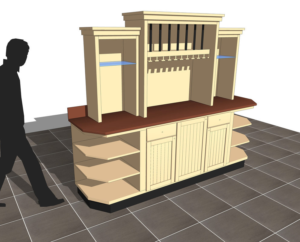 Restaurant Wine Counter w/fridge_free 3d sketchup model__interior design_#1