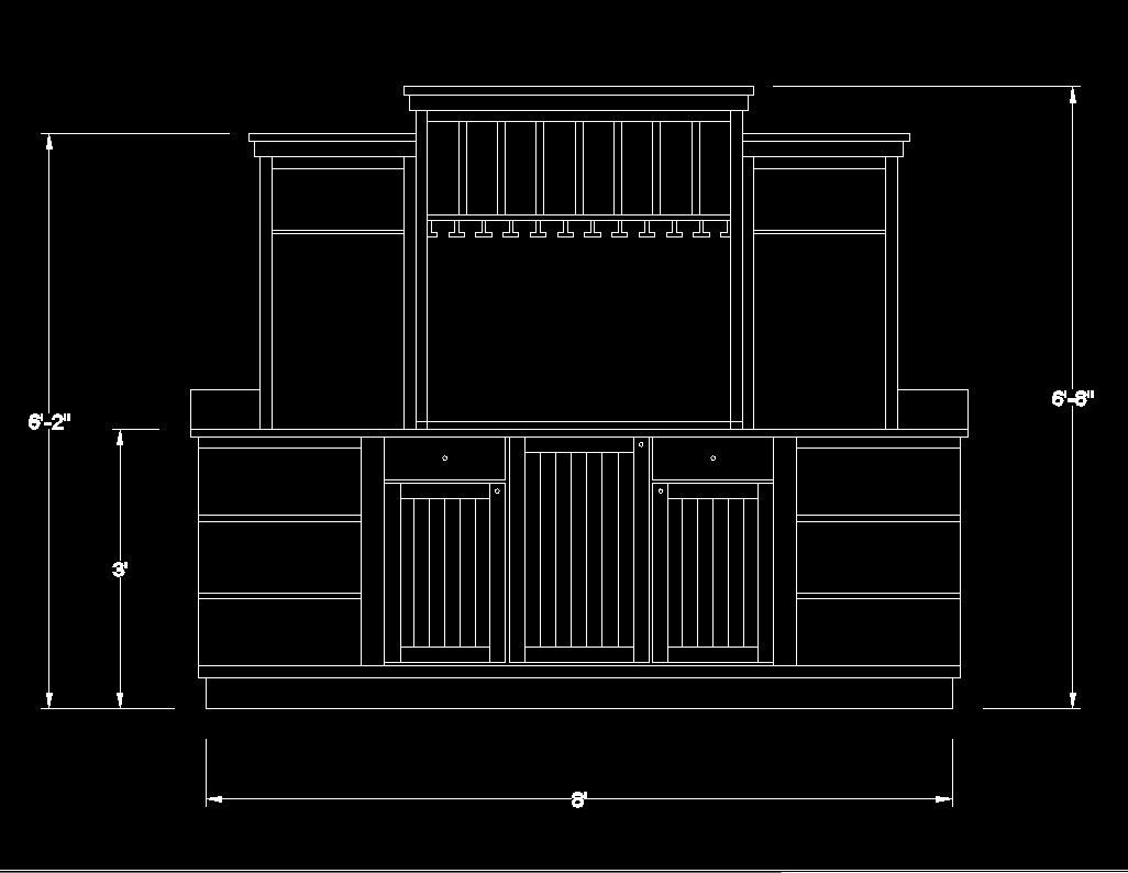Free Counter elevation DWG Drawing