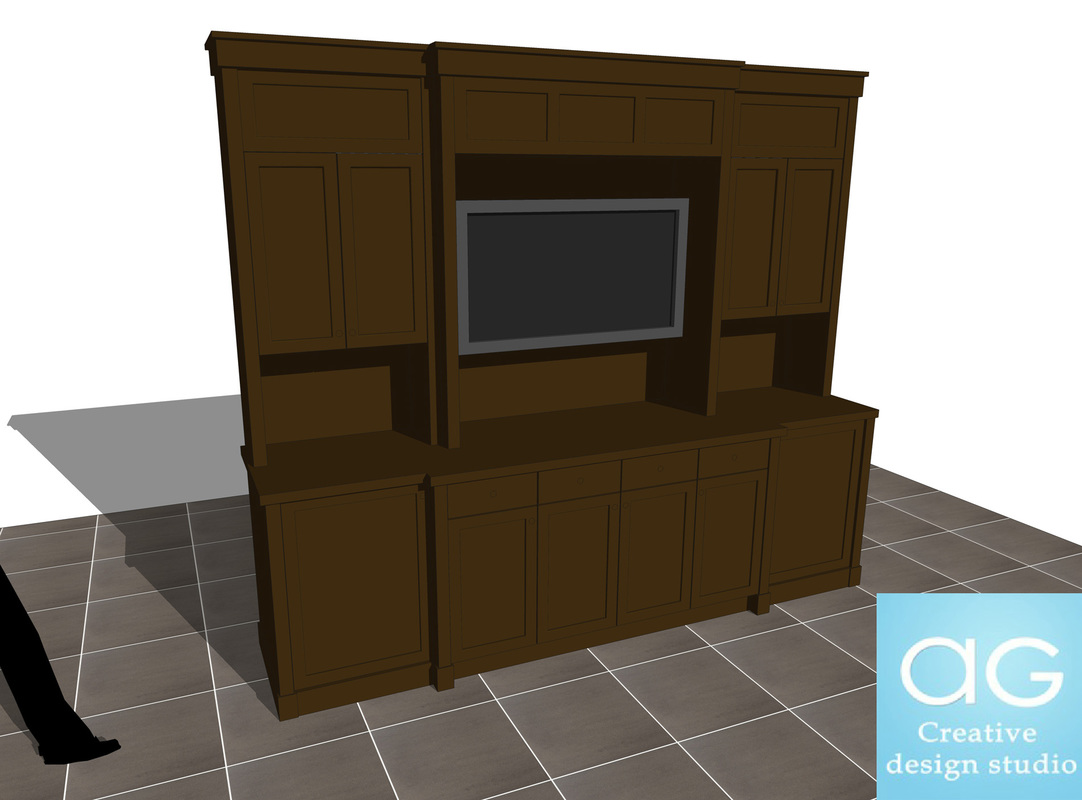 TV Mount furniture stand_interior design_SketchUp free 3d model