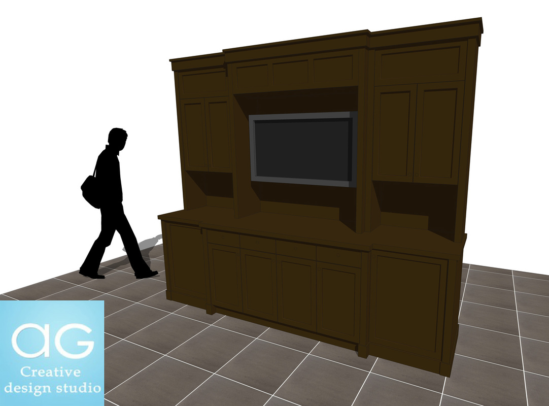 TV Mount furniture stand_Living Room Counter_interior design_sketchup free 3d model_#2