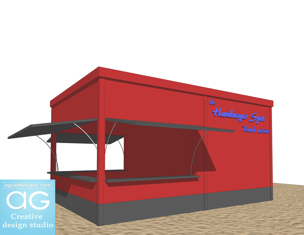 summer Beach store_resturant hamburger place_design concept_sketchup free 3d model