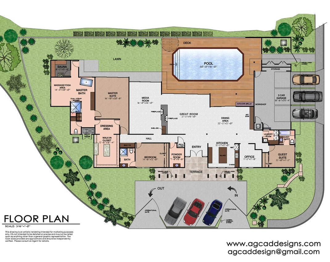 color 2D real estate floor plan drawing services