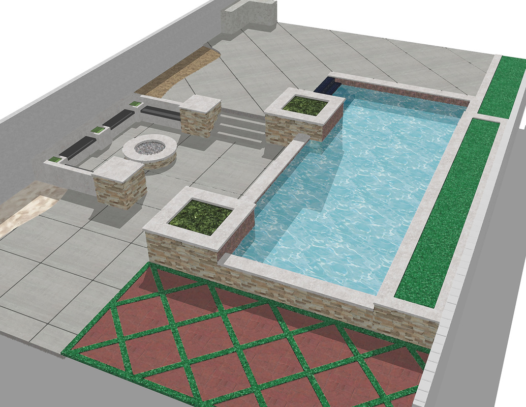 Exterior Landscape_custom built_pool design_seating area_details_design concept_california