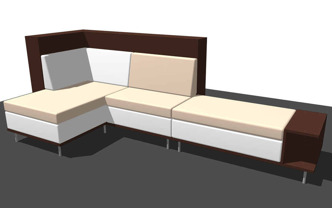 Interior furniture SketchUp modeling sofa L shape