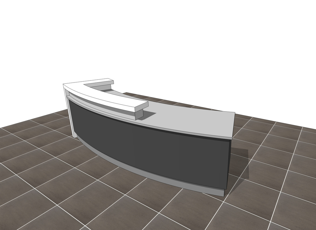 3d SketchUp Free Modern Reception desk download!