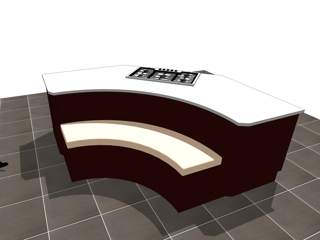 Kitchen Island counter with Seating Area_concept design_SketchUp Model