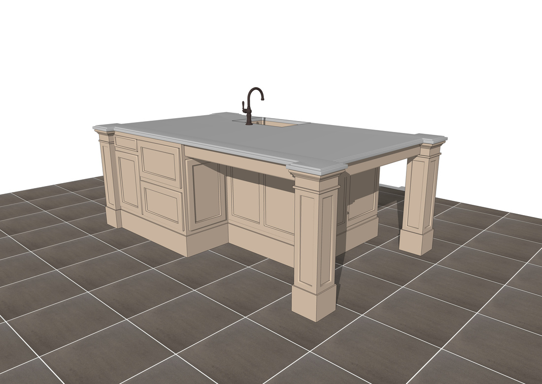 Free 3D SketchUp Kitchen Island models - USA Architectural