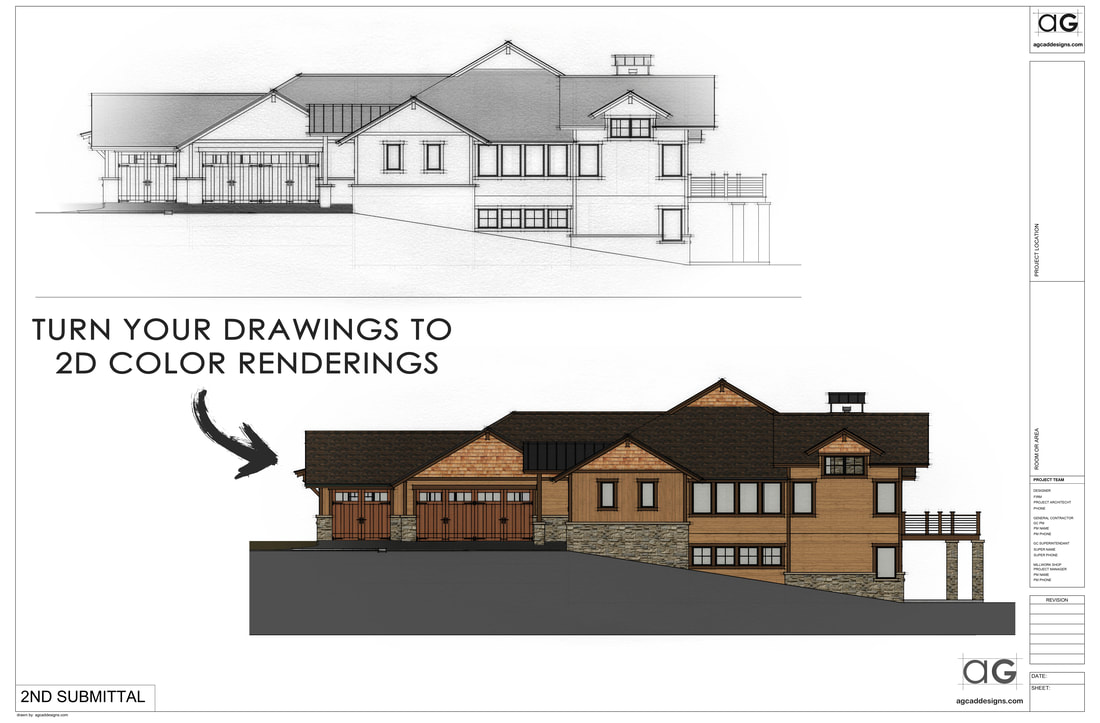 Architectural Front exterior elevations graphic design services Colorado USA