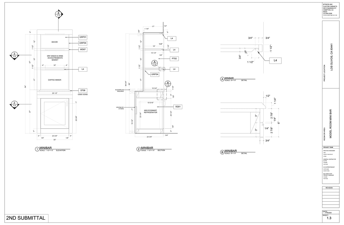Architectural millwork AutoCAD submittal Furniture Shop Drawings services