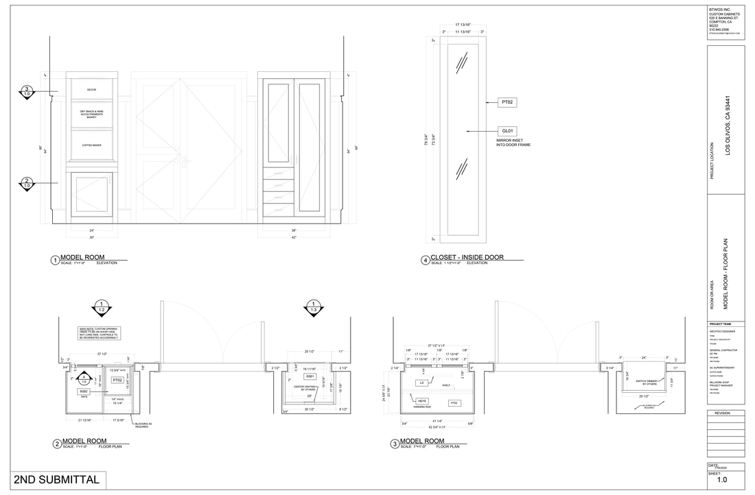Architectural millwork cabinetry Shop Drawings services Washington