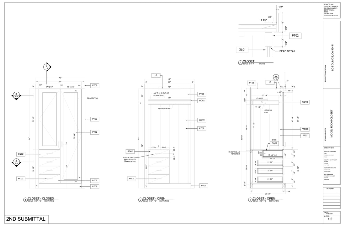 Architectural millwork woodworking commercial cabinets Shop Drawings services