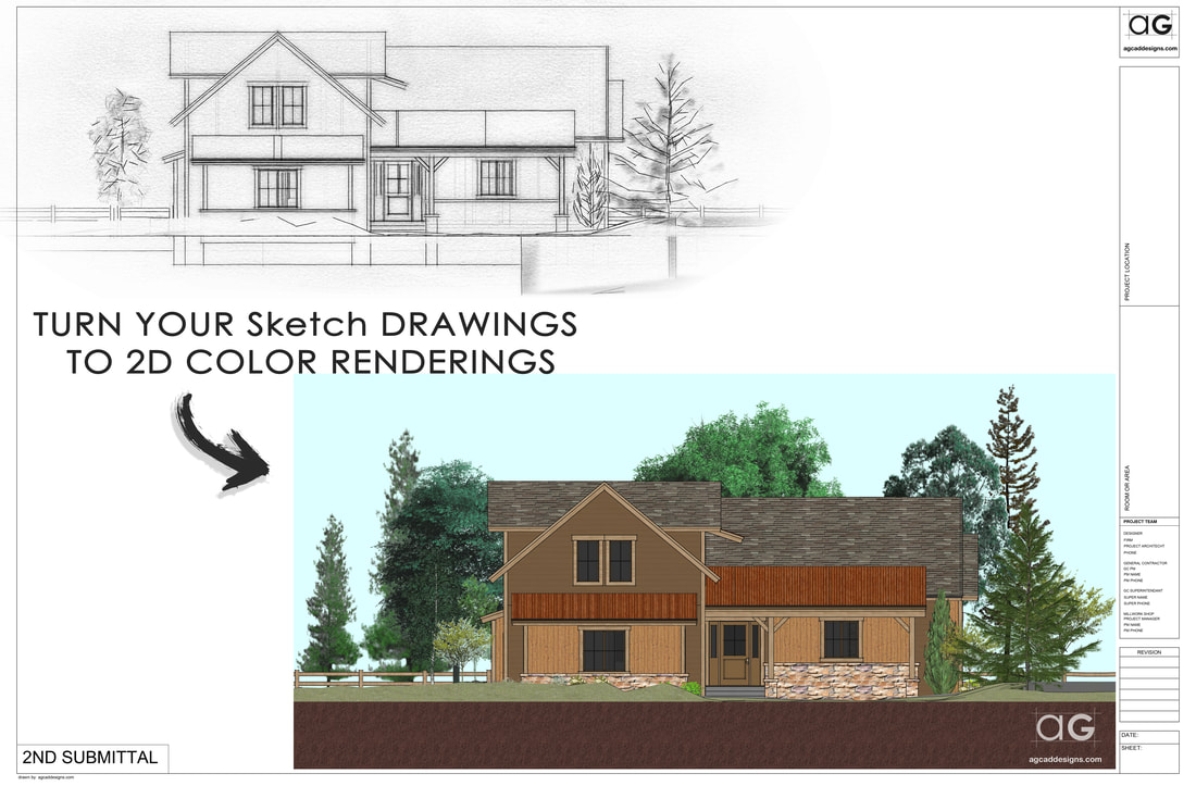 Architecture photoshop residential color elevation service