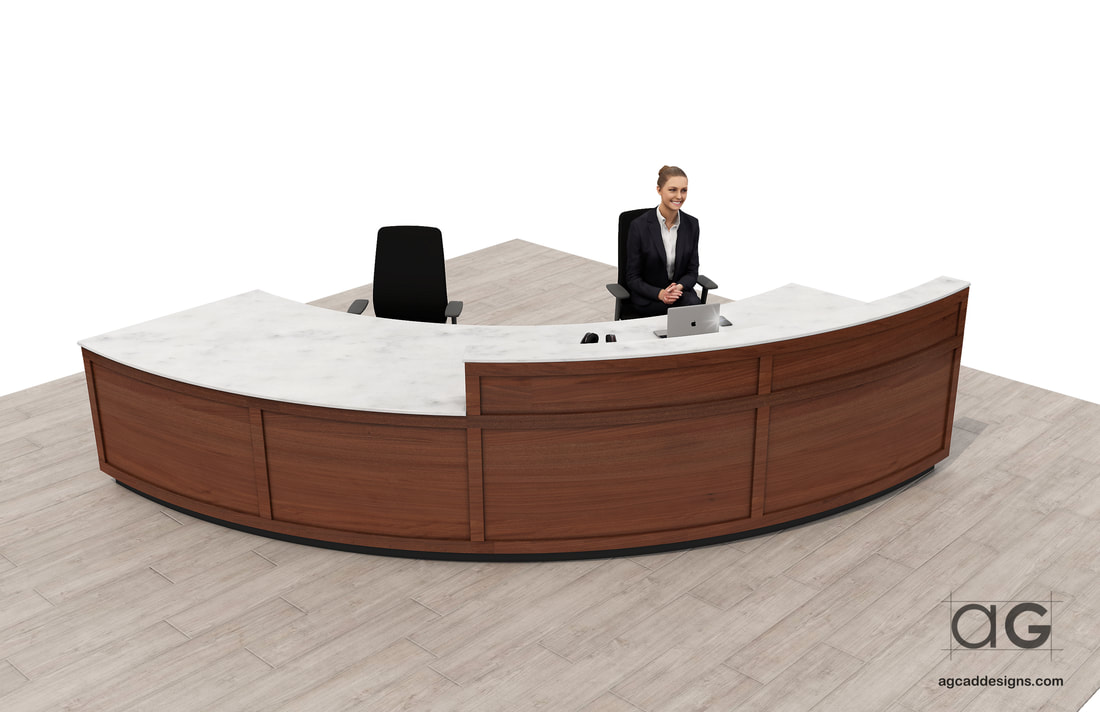 Curve Reception Desk concept design service millwork CAD_interior design drawings_architecture_office lobby desk