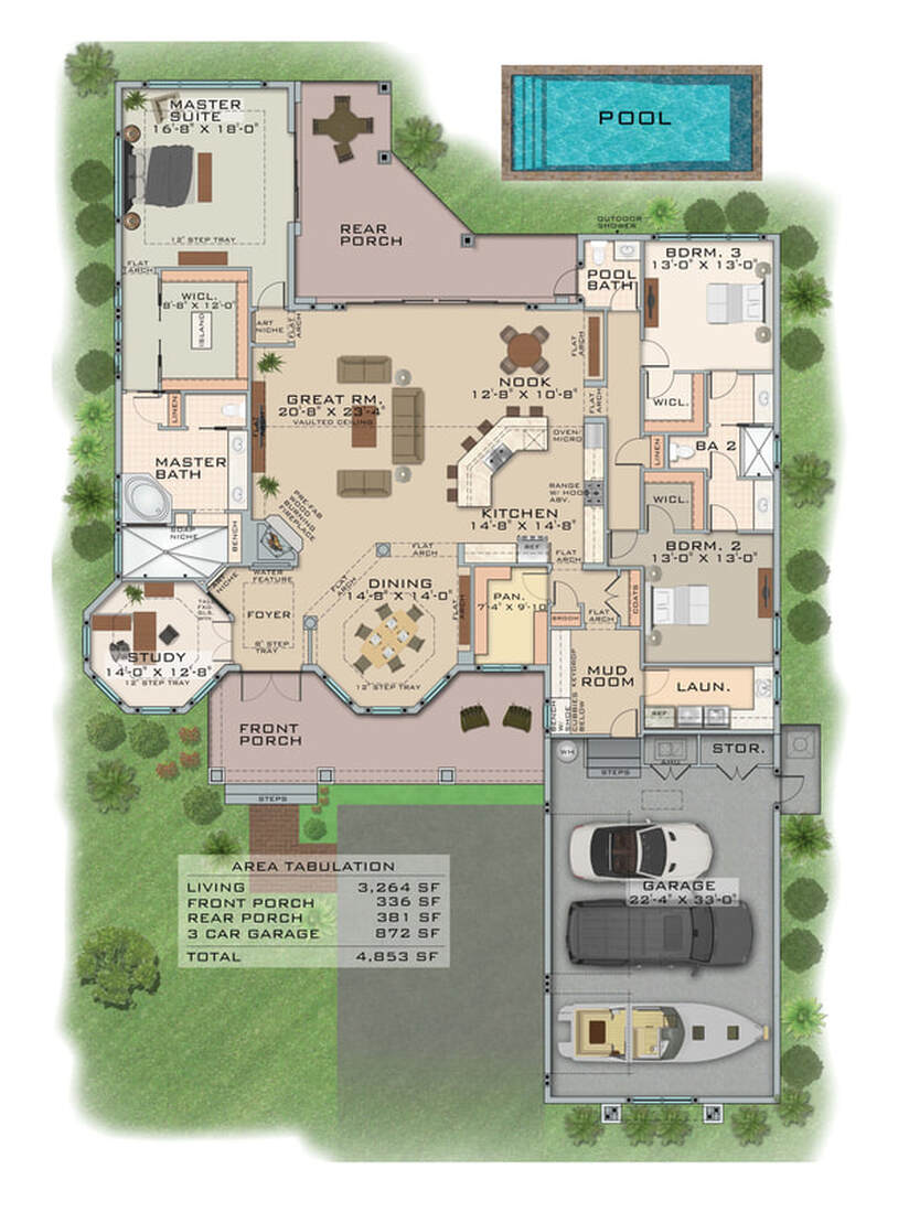 2D Photoshop color floor plan service marketing real estate outsource cad drafting services