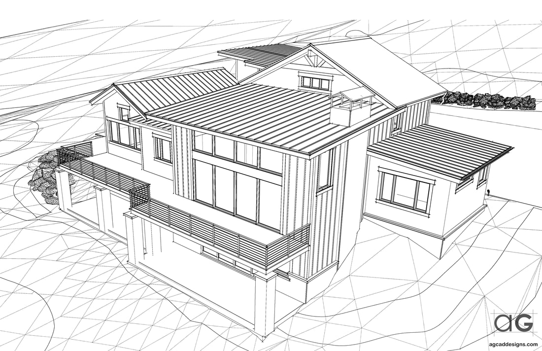exterior architectural rendering house plan drawing services architecture Atherton, California