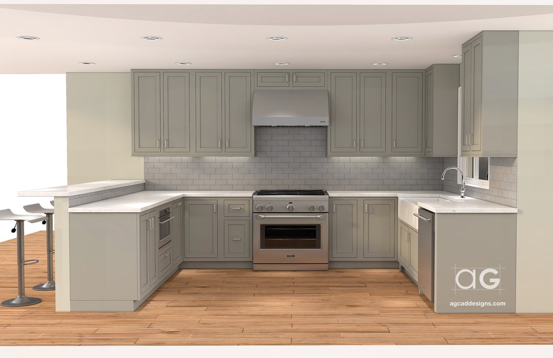 Interior design Kitchen 3D Rendering CAD Drawing shop drawing service USA