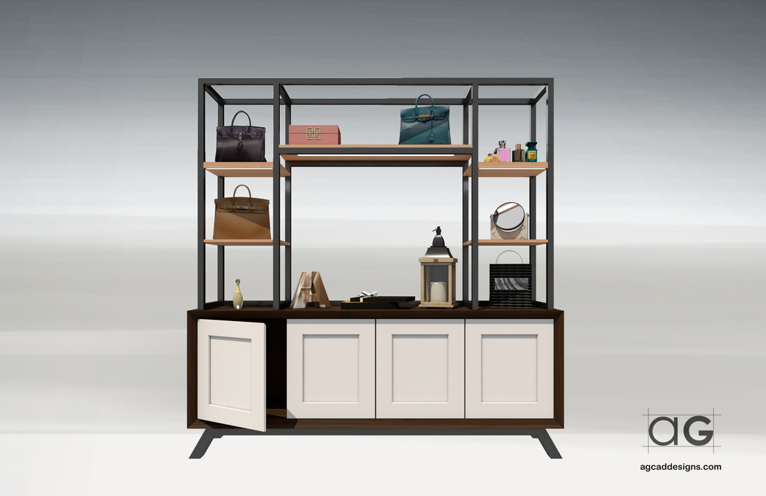 Interior Retail Store Shelf Display Concept design area