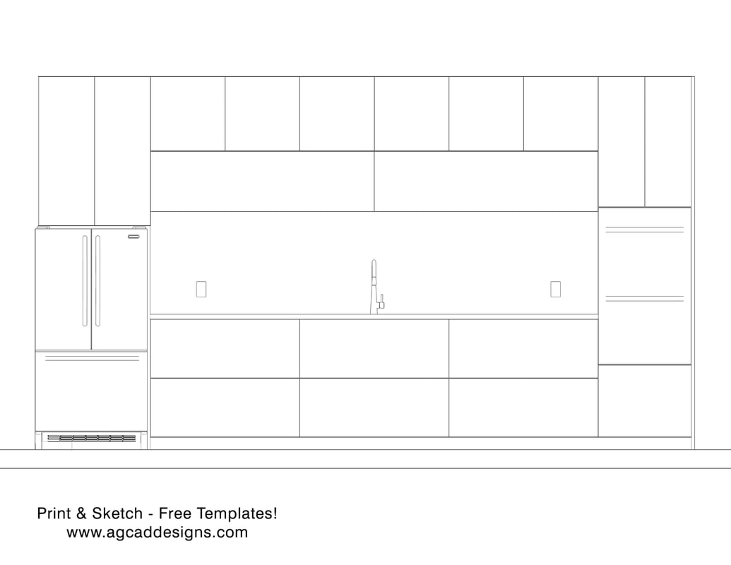 Kitchen front view elevation Print & Sketch free interior design templates