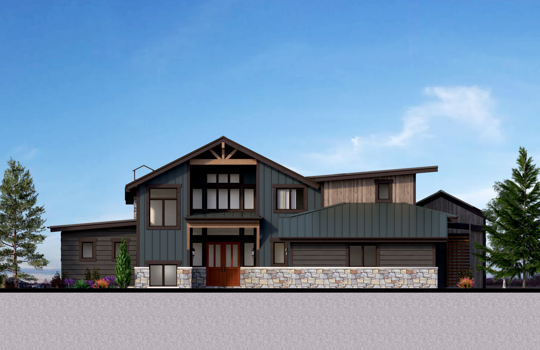 New house Real estate Marketing 2D Color Elevation rendering builders services Montana USA