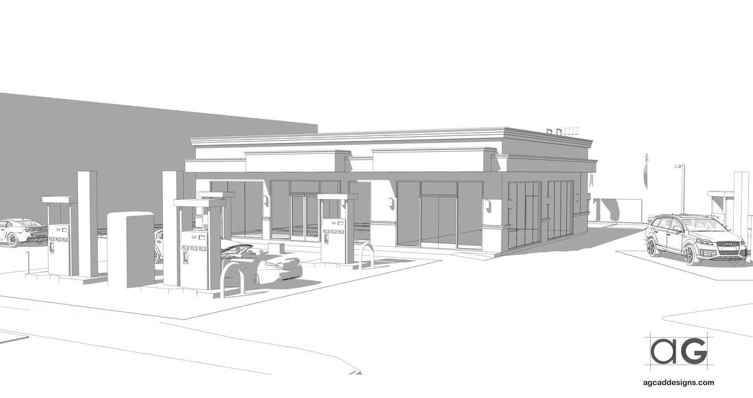 Architectural Commercial building Gas station Store professional Sketchup 3D Modeling freelancer services USA