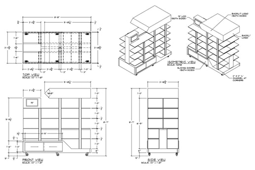 Custom retail Display 3D Modeling AutoCAD Tradeshow Exhibit Fabrication Shop Drawing Set-Up Drawing service
