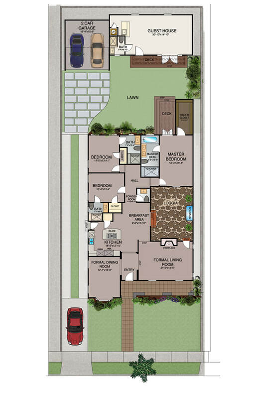 Color 2D Floor Plan_Serives_Real Estate_Vacation Rental_Space Planning