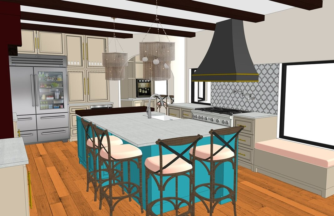sketchup interior kitchen rendering services modeling california usa architectural