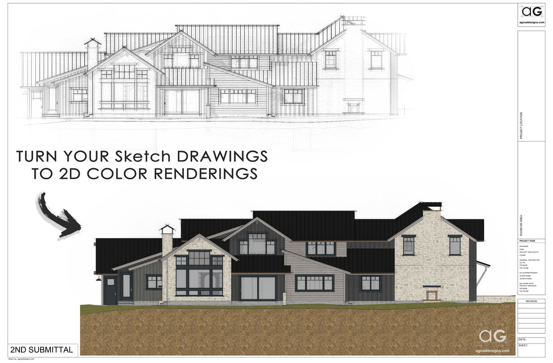 Residential Home Color Elevation digital watercolor service Colorado