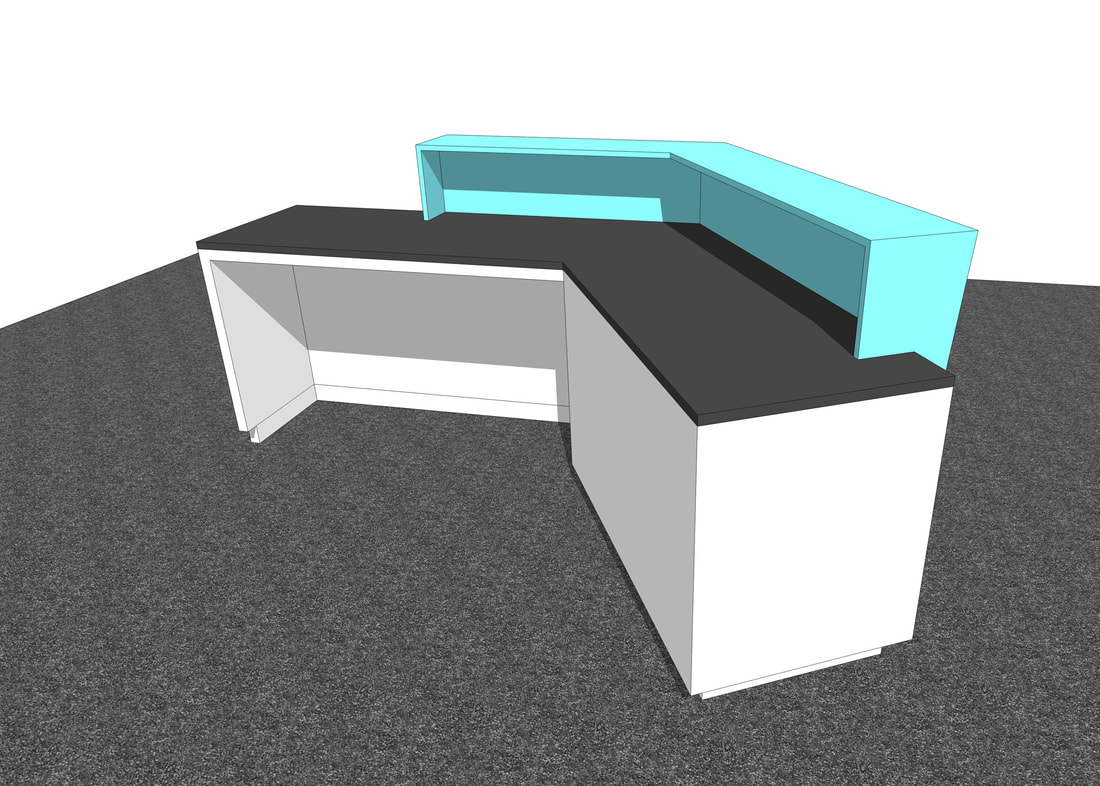 custom reception desk retail store design service 3D concepts freelance designer