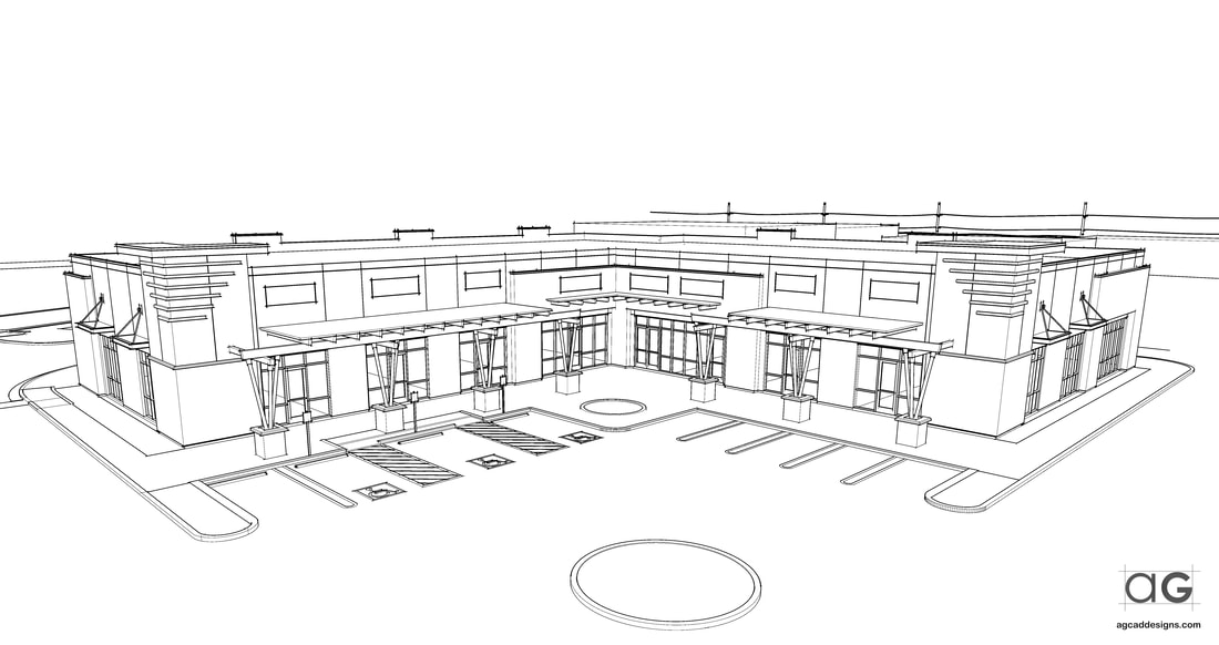 SketchUp Commercial Development building rendering Washington